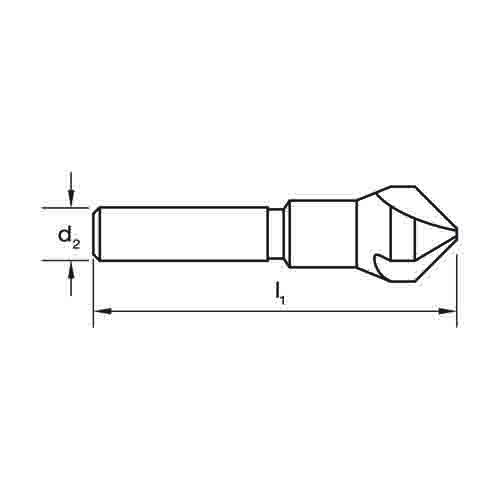 Counter Sink 3-Flute 90DEG Drawing
